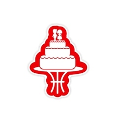 Paper sticker on white background wedding cake vector