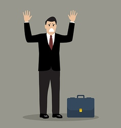 Businessman in a suit surrendering vector