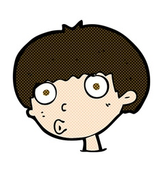 Comic cartoon surprised boy vector