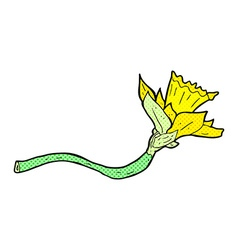 Comic cartoon daffodil flower vector