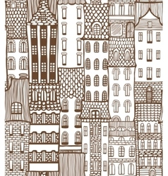 Seamless city background with cute houses vector