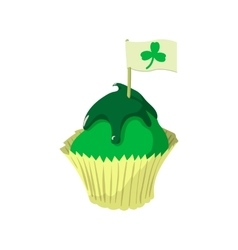 St patricks day cupcake cartoon icon vector