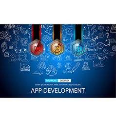App development concept background with doodle vector