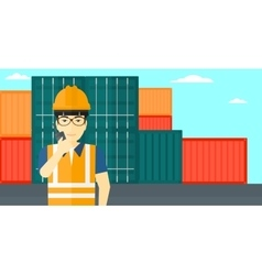 Stevedore standing on cargo containers background vector