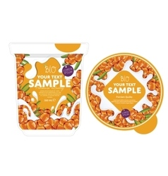 Sea buckthorn yogurt packaging design template vector
