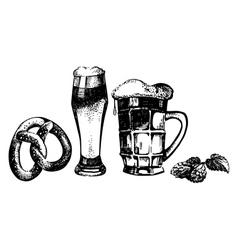 Oktoberfest set of beer hops and pretzel vector image
