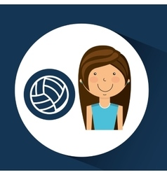 Athlete girl volleyball sport style vector