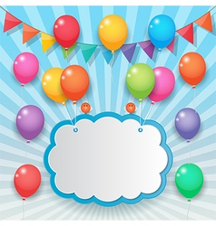 balloon and party flags sky background vector image vector image