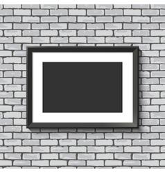 Black frame on brick wall vector