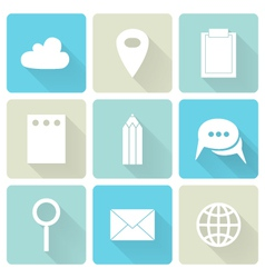 Blue business flat icons vector