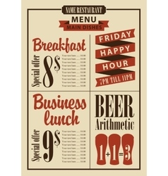 Board menu for the restaurant with the prices vector