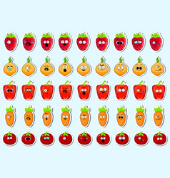 cartoon vegetables cute character face sticker vector image vector image