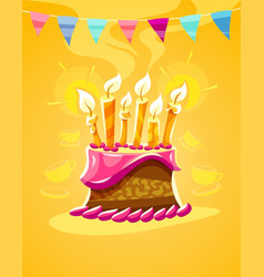 chocolate birthday cake vector image vector image