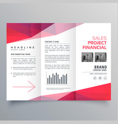 Clean red trifold business brochure design vector