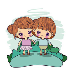 Color picture couple kawaii girl collected hair vector