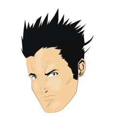 Comic style face of man with spikey black hair vector