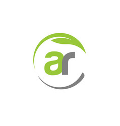 Creative letter ar with circle green leaf logo vector