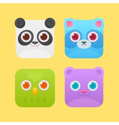 Cute square animals icons vector image vector image