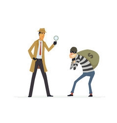 Detective catching a thief - cartoon people vector