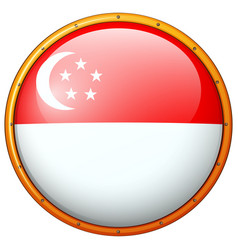 Flag of singapore on round frame vector