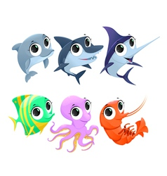 Funny marine animals vector image