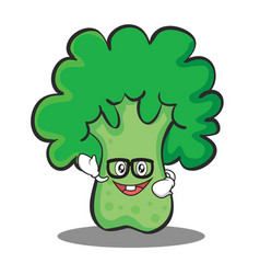 Geek broccoli chracter cartoon style vector