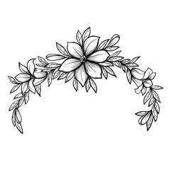 Graphic drawing lily branch with leaves vector