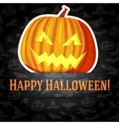 Happy halloween greeting card with bright jack-o vector