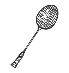 Metal racket for badminton vector