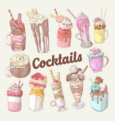 Milkshakes and ice cream hand drawn doodle vector