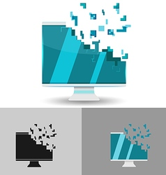 Monitor Digital Blue Pixel Logo vector image vector image