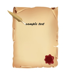 old parchment with wax vector image vector image
