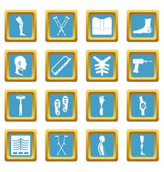 Orthopedics prosthetics icons azure vector