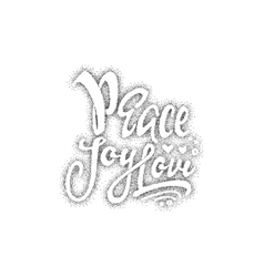 Peace joy love hand-lettering text handmade vector