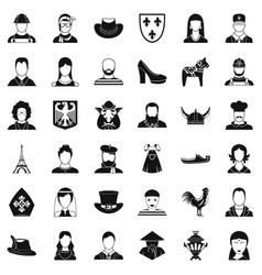 portrait icons set simle style vector image