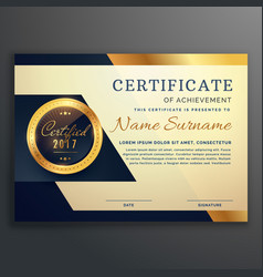 Premium luxury certificate of achievement design vector
