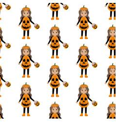 pumpkin halloween costume pattern vector image