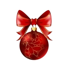 Red christmas ball with ribbon and a bow vector