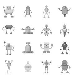 Robot icons set monochrome vector