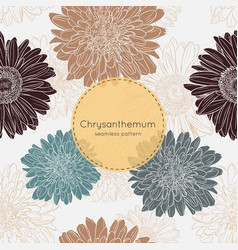 seamless pattern with chrysanthemum flowers vector image vector image