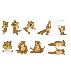 Set of cute beavers vector