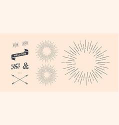 set of sunburst vintage graphic elements vector image