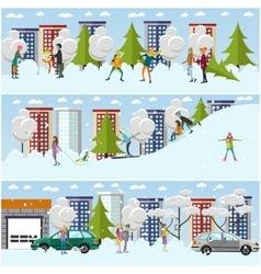 set of winter activities concept design vector image vector image