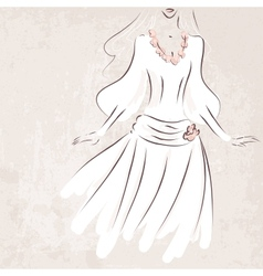 sketch bride in wedding dress on grungy background vector image