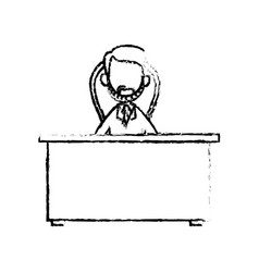 Sketch doctor male sitting desk work hospital vector