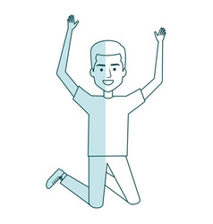 Young man celebrating with hands up vector