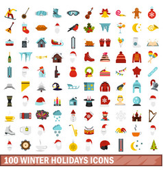 100 winter holidays icons set flat style vector image