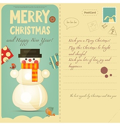 Vintage Postcard with Snowman vector image