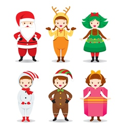 Kids Wearing Christmas Costumes Set vector image