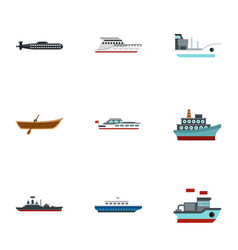 ocean transport icons set flat style vector image